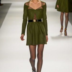 Nanette Lepore Olive Long Sleeve Lace Trim Dress 0